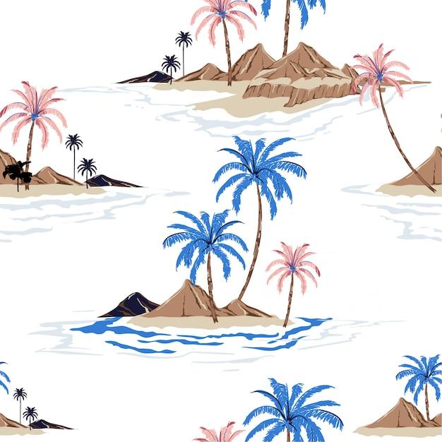 Modello senza cuciture di stile tropicale del disegno della mano dell'isola tropicale di estate nel vettore Vettore Premium