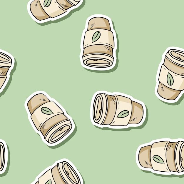 Modello senza cuciture di tazza di plastica. caffè riutilizzabile disegnato a mano per andare tazza. prodotto ecologico e privo di rifiuti. diventa verde Vettore Premium