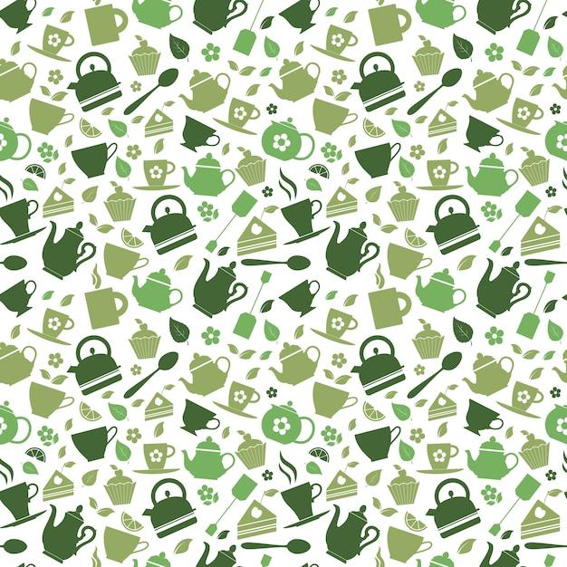 Modello senza cuciture di tè verde Vettore Premium