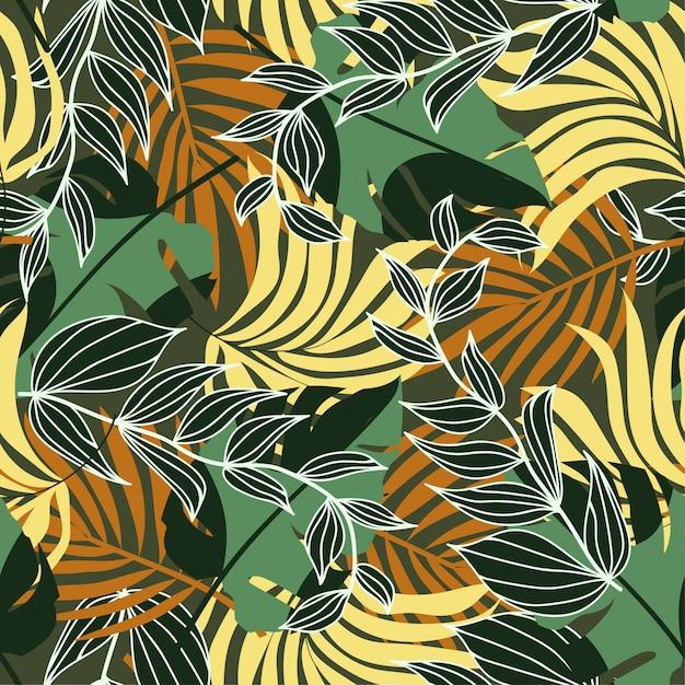 Modello senza cuciture di tendenza con piante e foglie tropicali colorati Vettore Premium