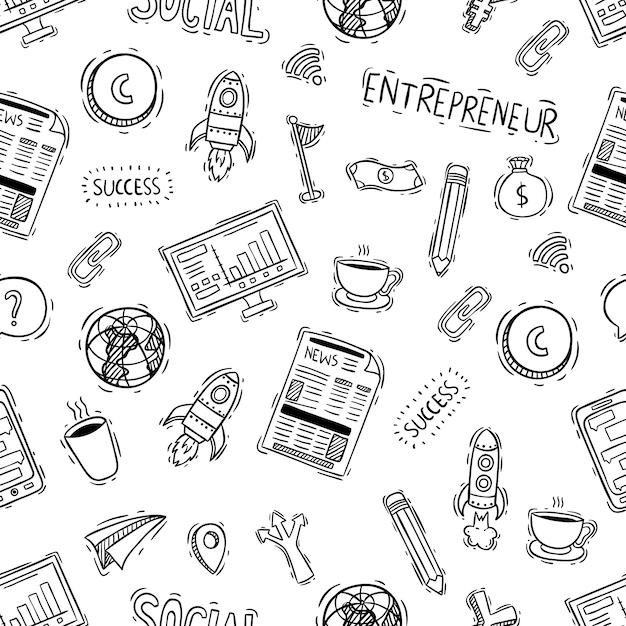 Modello senza cuciture di ufficio o oggetti business con stile doodle Vettore Premium