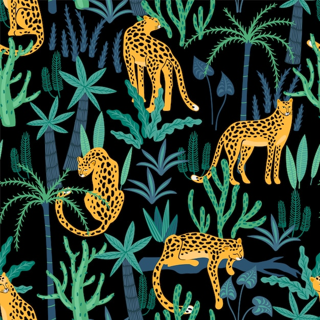 Modello senza cuciture di vestor con leopardi e foglie tropicali. Vettore Premium