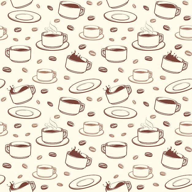 Modello senza cuciture di vettore disegnato a mano tazze di caffè Vettore Premium