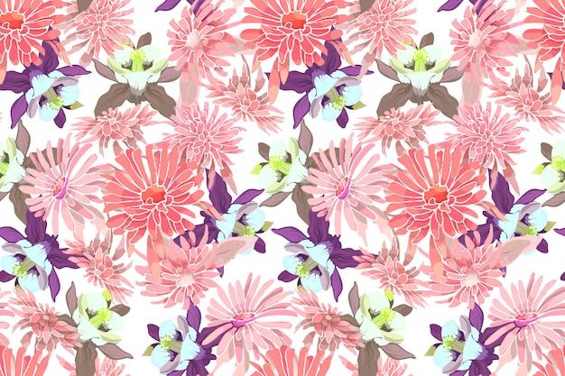 Modello senza cuciture di vettore floreale di arte aster rosa, crisantemi, columbine viola e giallo. Vettore Premium