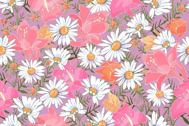 Modello senza cuciture di vettore floreale di arte. fiori da giardino. camomiles bianchi, gigli rosa e arancioni. stampa delicata per tessuti, tessuti per la casa, confezioni regalo, accessori. Vettore Premium
