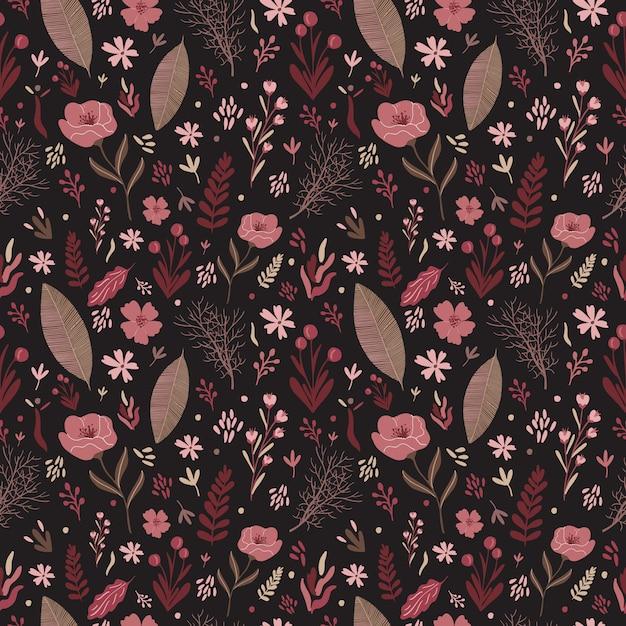 Modello senza cuciture di vettore floreale tavolozza di colori caldi. composizione di fiori di fogliame. Vettore Premium