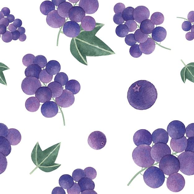 Modello senza cuciture disegnato a mano dell'uva Vettore Premium