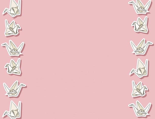 Modello senza cuciture disegnato a mano di cigno di carta di origami Vettore Premium