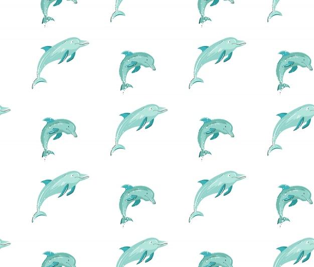 Modello senza cuciture disegnato a mano di ora legale del fumetto con i delfini di salto nei colori blu su fondo bianco. Vettore Premium