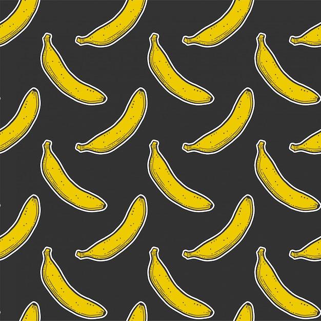 Modello senza cuciture dolce banana matura Vettore Premium