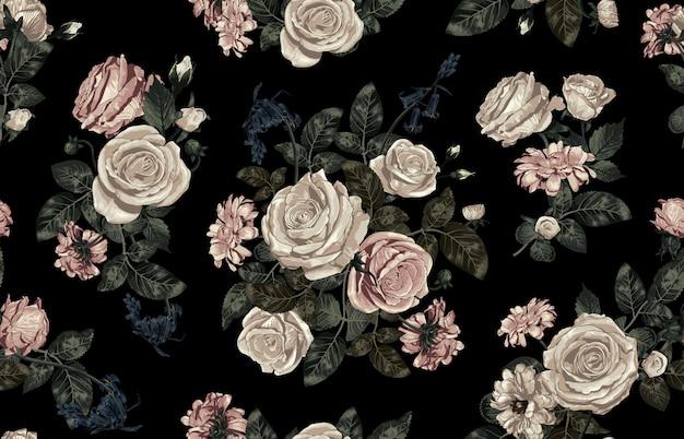 Modello senza cuciture elegante di arrossire tonica fiori rustici Vettore Premium