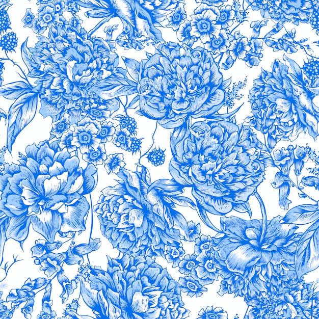 Modello senza cuciture floreale blu con peonie in stile vintage Vettore Premium