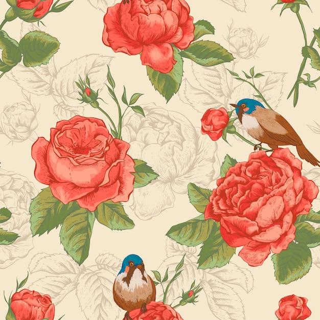 Modello senza cuciture floreale botanico con rose e uccelli Vettore Premium