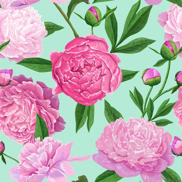 Modello senza cuciture floreale con fiori rosa peonia Vettore Premium