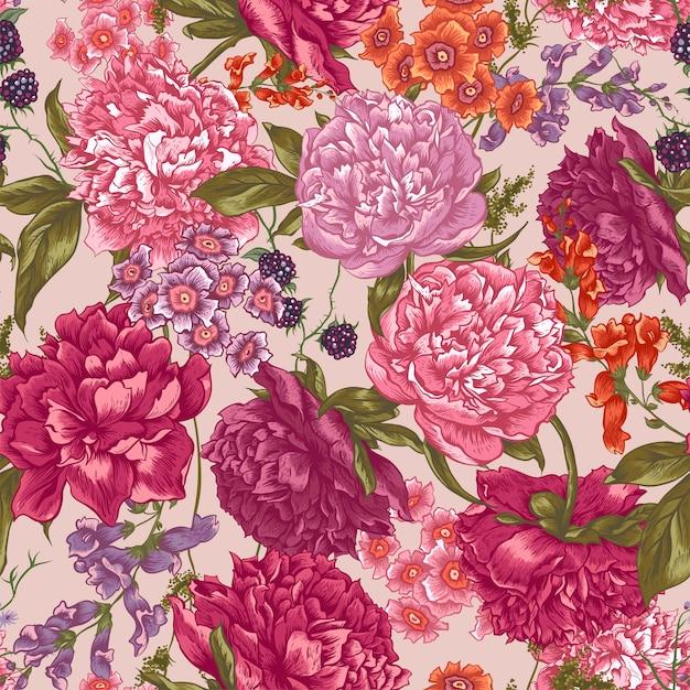 Modello senza cuciture floreale con peonie in stile vintage Vettore Premium