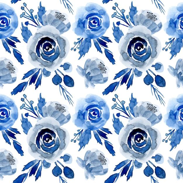 Modello senza cuciture floreale dell'acquerello blu Vettore Premium