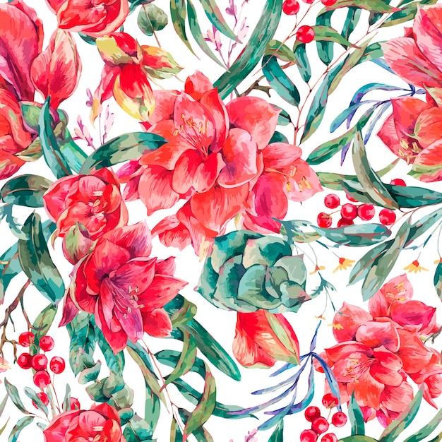 Modello senza cuciture floreale di vettore dei fiori rossi amaryllis Vettore Premium