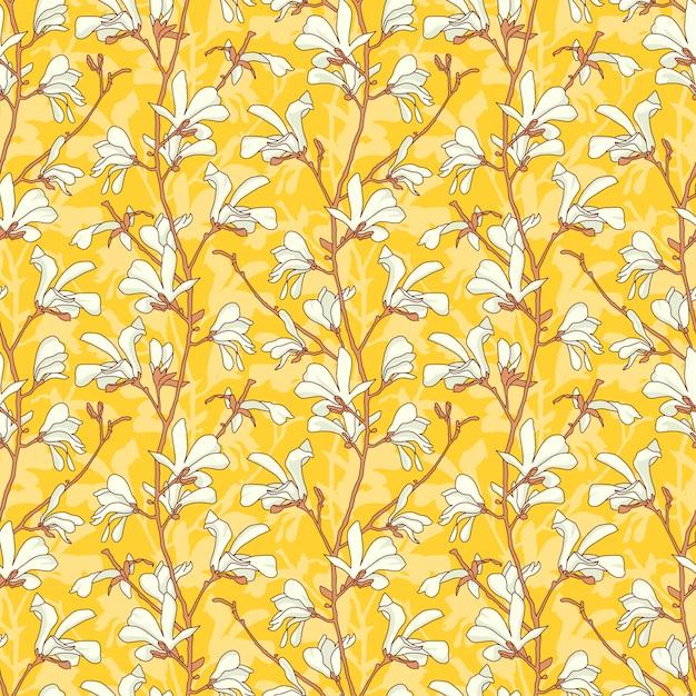 Modello senza cuciture floreale giallo con ramo e fiore bianco magnolia. Vettore Premium