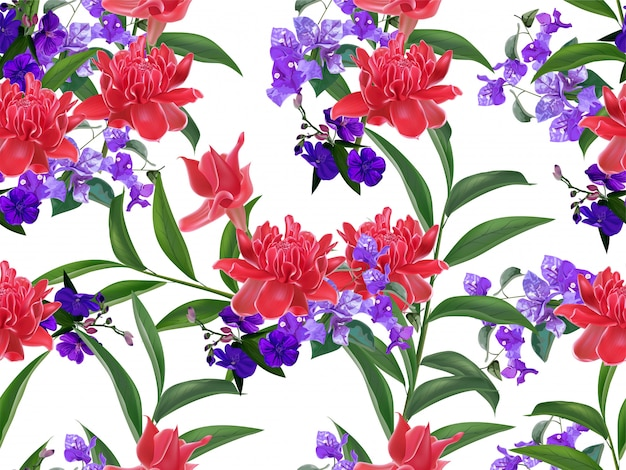 Modello senza cuciture floreale tropicale Vettore Premium