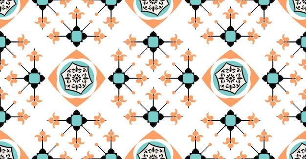 Modello senza cuciture geometrico blu verde arancio in stile africano con forma quadrata del cerchio tribale Vettore Premium