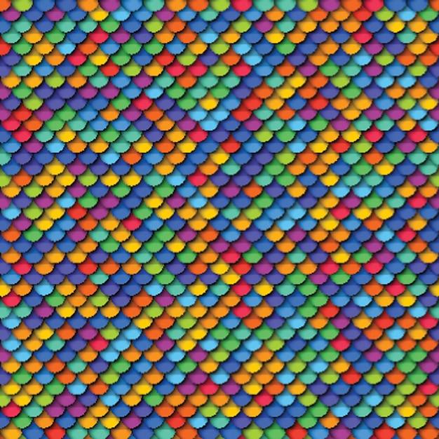 Modello senza cuciture geometrico colorato con elementi rotondi tagliati carta realistica Vettore Premium