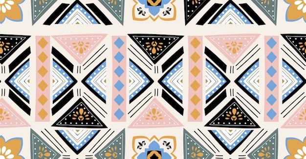 Modello senza cuciture geometrico nero verde blu rosa in stile africano con forma quadrata, tribale, cerchio Vettore Premium