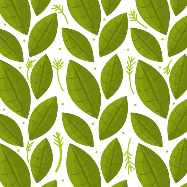 Modello senza cuciture grafico di ecologia delle foglie e delle foglie Vettore gratuito