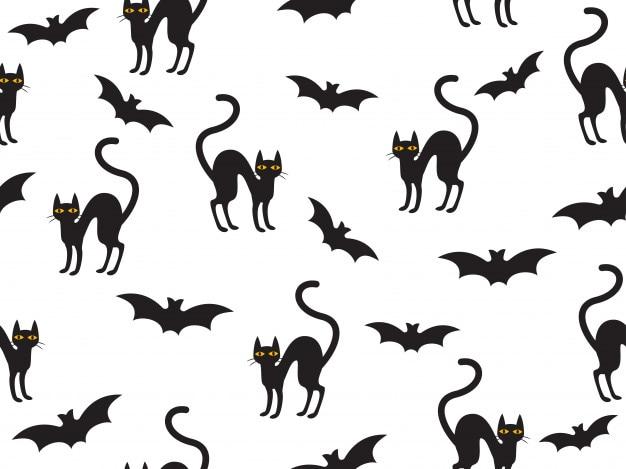 Modello senza cuciture halloween con gatto e pipistrello Vettore Premium