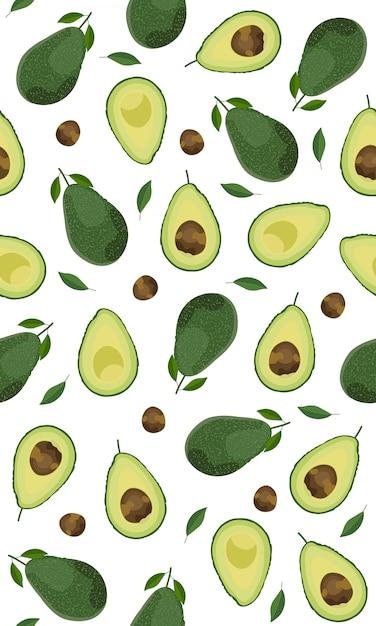 Modello senza cuciture intero avocado Vettore Premium