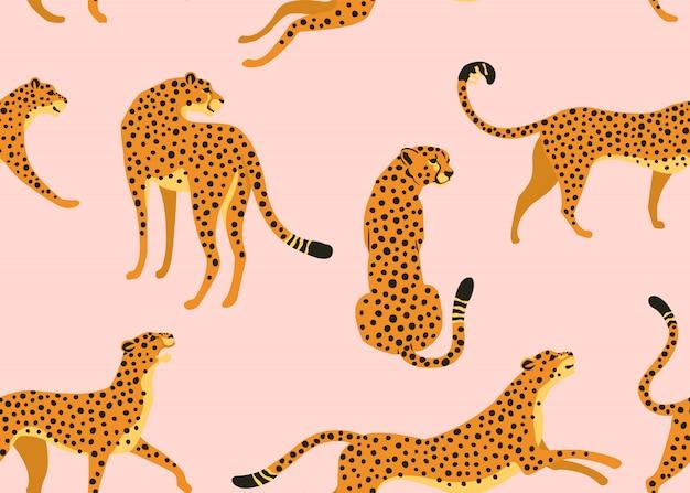 Modello senza cuciture leopardo Vettore Premium