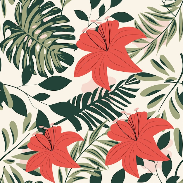 Modello senza cuciture luminoso di estate con le foglie e le piante tropicali variopinte su fondo pastello Vettore Premium