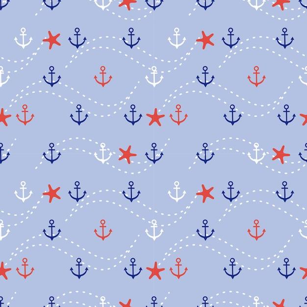 Modello senza cuciture marino di ancoraggio e stelle marine. Vettore Premium