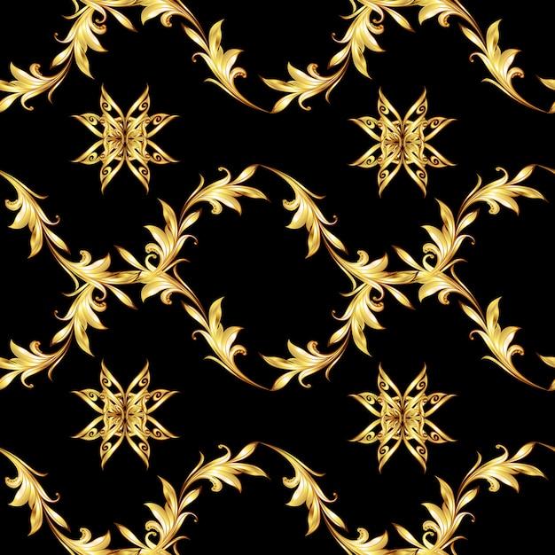 Modello senza cuciture nero floreale dorato Vettore Premium