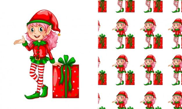 Modello senza cuciture per carta da parati, con elfo e scatola regalo Vettore gratuito