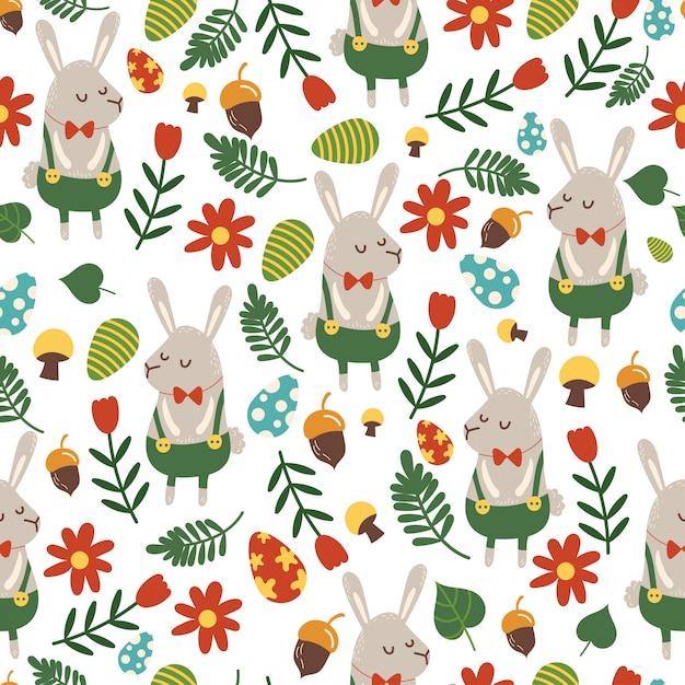 Modello senza cuciture per il tema di pasqua con coniglietto simpatico cartone animato e fiori, uova e fogliame. Vettore Premium