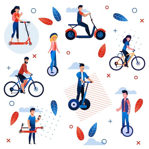Modello senza cuciture piatto vacanze estive attivo. personaggi dei cartoni animati persone in sella a biciclette, scooter Vettore Premium