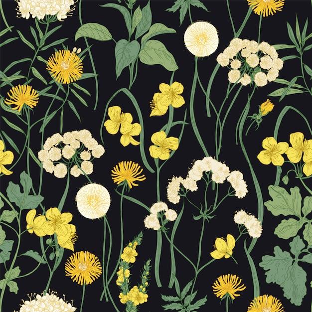 Modello senza cuciture romantico con i fiori gialli selvaggi di fioritura e le piante erbacee perenni su fondo nero. Vettore Premium