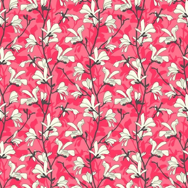 Modello senza cuciture rosa con fiore di albero di magnolia. disegno floreale primaverile Vettore Premium