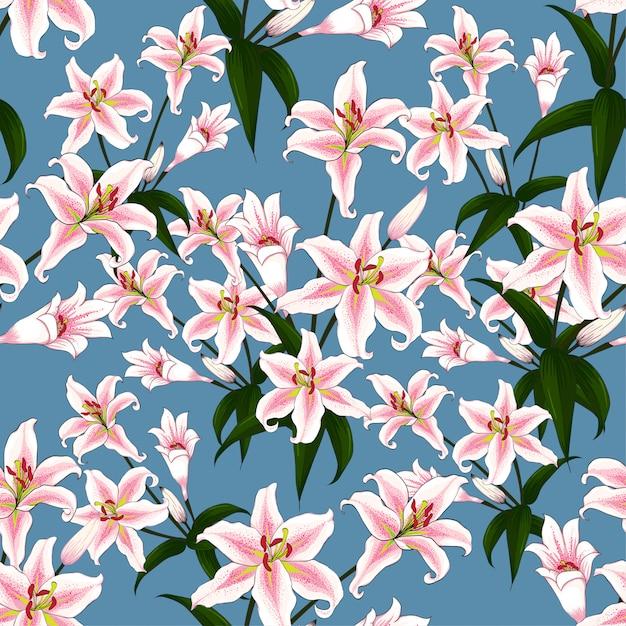 Modello senza cuciture rosa lilly fiori su sfondo blu. Vettore Premium