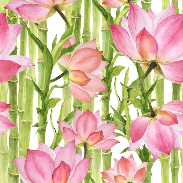 Modello senza cuciture rosa lotus e bambù verde Vettore Premium