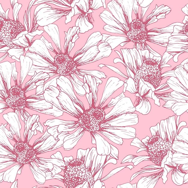 Modello senza cuciture rosa per il design romantico della carta da parati Vettore gratuito