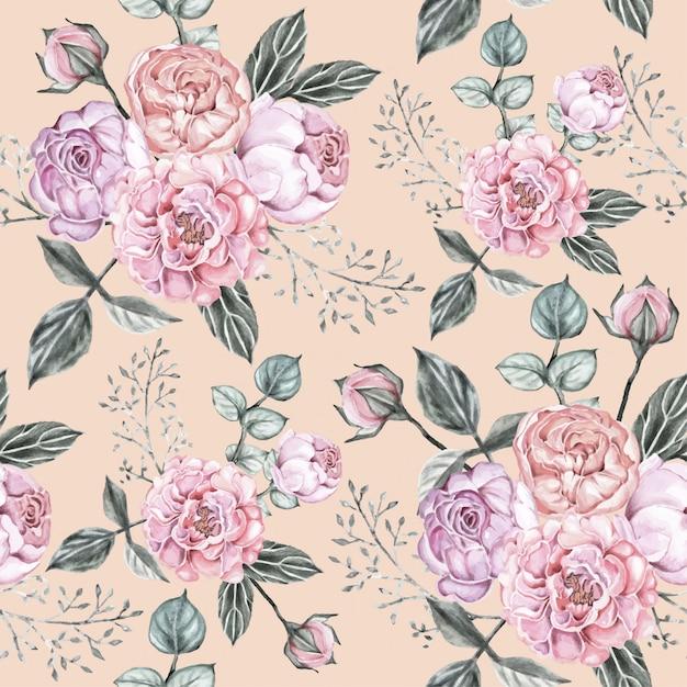 Modello senza cuciture rose vintage fiori. Vettore Premium