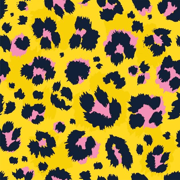 Modello senza cuciture stampa leopardo. Vettore Premium