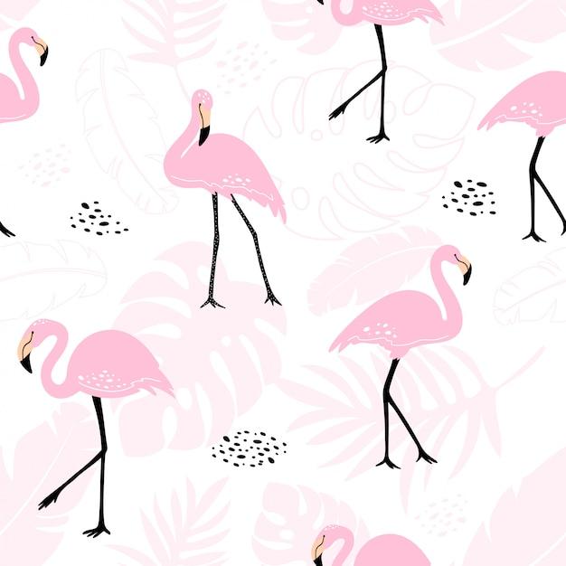 Modello senza cuciture sveglio con fenicotteri rosa e piante tropicali. Vettore Premium