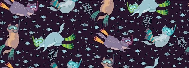 Modello senza cuciture sveglio con i gatti di nuoto circondati dai pesci e dalle meduse. Vettore Premium