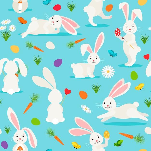Modello senza cuciture sveglio coniglio bianco. bunny easter Vettore Premium