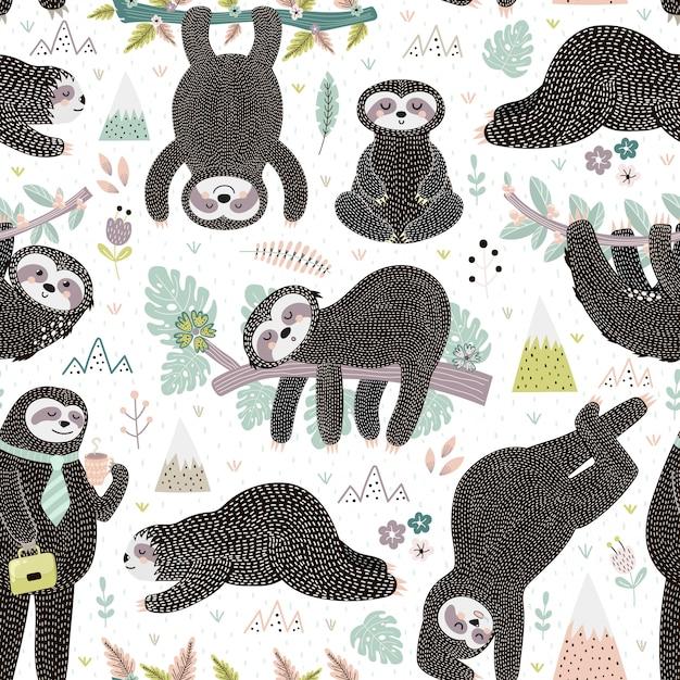 Modello senza cuciture sveglio dei bradipi di sonno. animale adorabile Vettore Premium