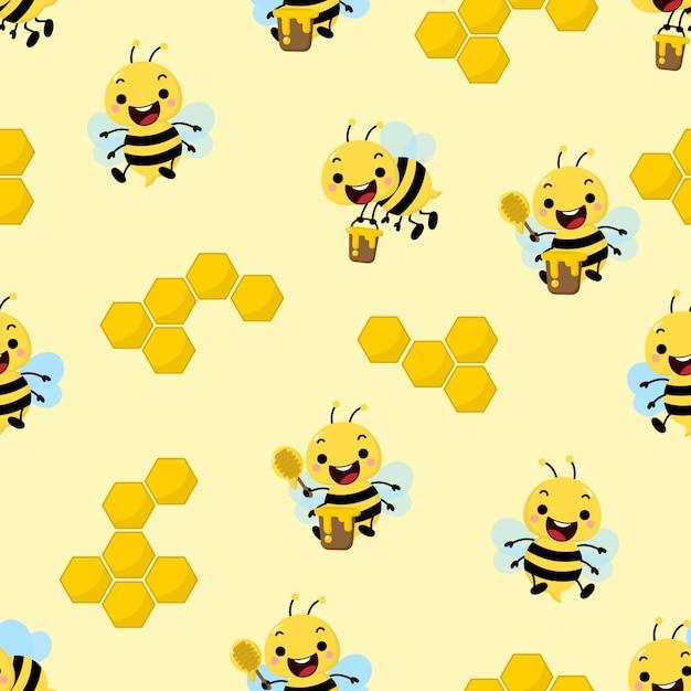 Modello senza cuciture sveglio dell'ape del miele Vettore Premium