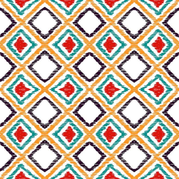 Modello senza cuciture tradizionale rombo rosso. red batik aztec watercolor motif. batik repeat print. motivo ad acquerello tribale colorante cravatta messicana. Vettore Premium