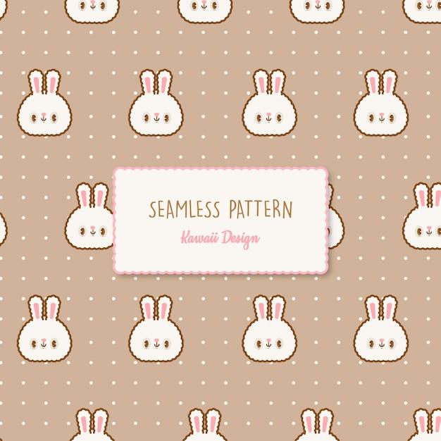 Modello senza cuciture trasparente di simpatici conigli kawaii Vettore Premium